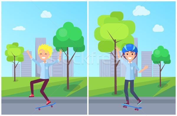 Skateboarding colección ninos adolescentes hobby masculina Foto stock © robuart