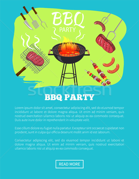 BBQ Party Web Page and Text Vector Illustration Stock photo © robuart