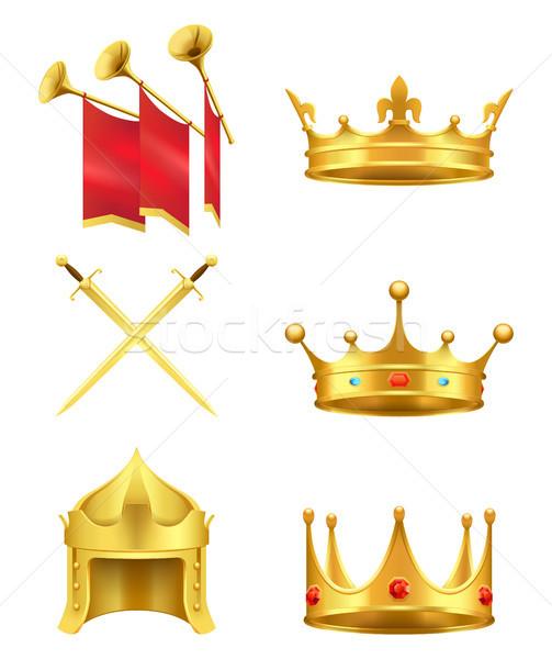 Arany középkori szimbólumok valósághű vektor ikon szett Stock fotó © robuart