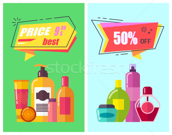 Best Price -50 Off Poster Set Vector Illustration Stock photo © robuart