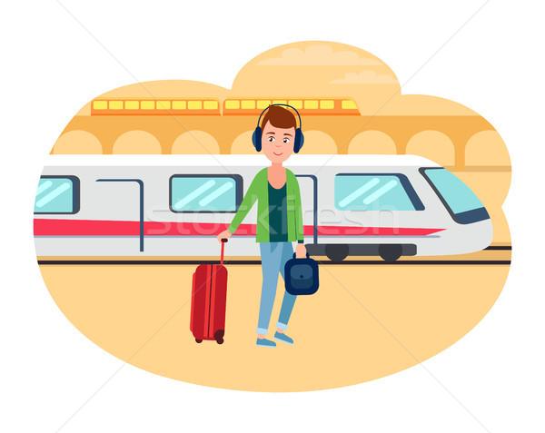 Jonge vluchteling vent bagage treinstation mannelijke Stockfoto © robuart