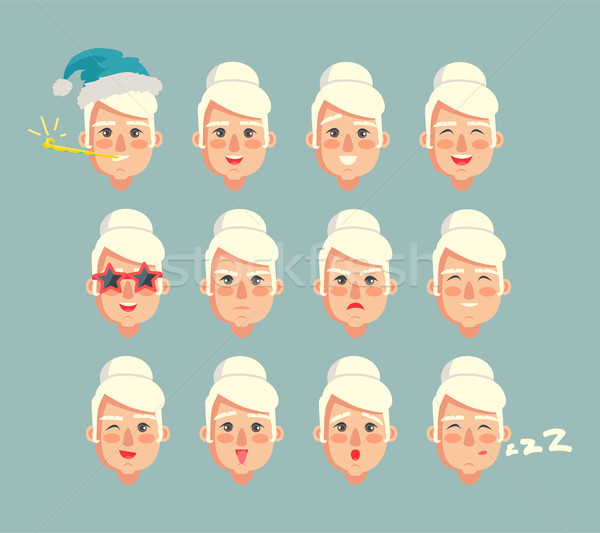 Grandmother Constructor Set of Grannies Heads Stock photo © robuart