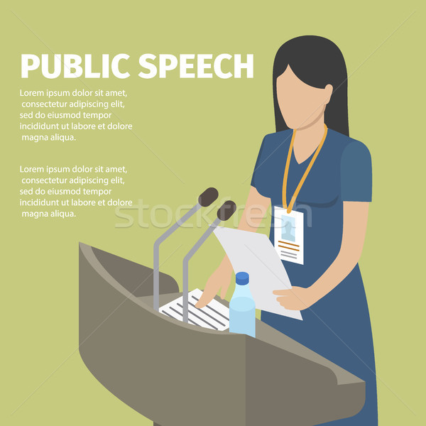 Public Speech Conceptual Banner. Faceless Woman Stock photo © robuart