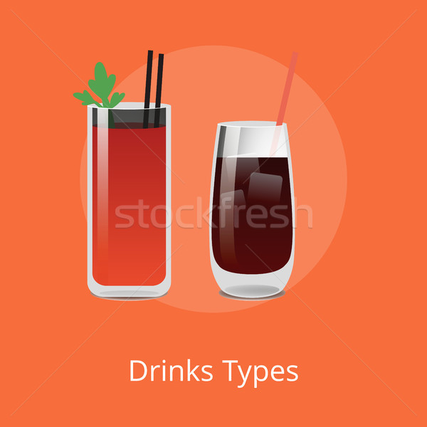 Drink Types Boody Mary and Vodka Cola Cocktails Stock photo © robuart