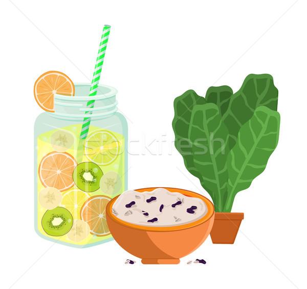 Vegetáriánus étel poszter frissít nyár detoxikáló diéta Stock fotó © robuart