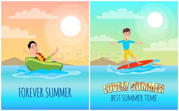 Para sempre verão colorido vetor bandeira ilustração Foto stock © robuart