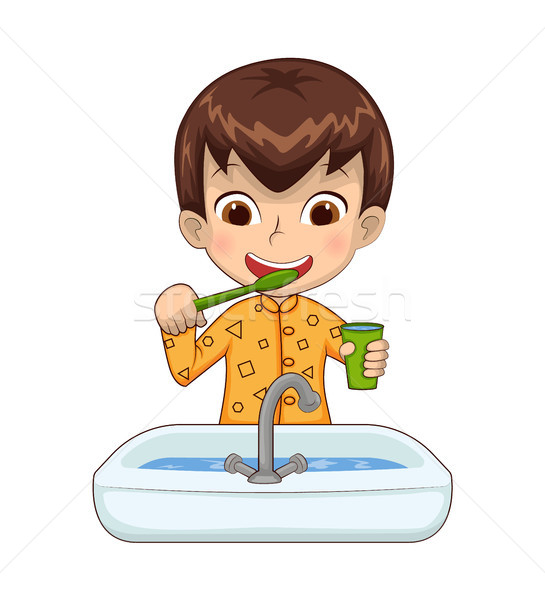 Boy Holding Cup Above Basin Vector Illustration Stock photo © robuart