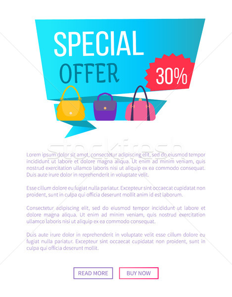 Special Offer 30 Discount Advert Label with Bags Stock photo © robuart