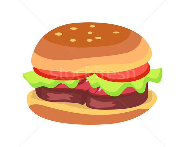 Hamburger with Fresh Tomatoes and Lettuce Leaf Stock photo © robuart