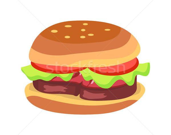 Hamburger fraîches tomates laitue feuille grillés Photo stock © robuart