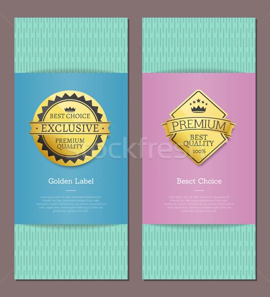 Altın etiketler taç 100 kalite prim Stok fotoğraf © robuart