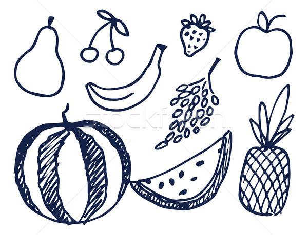 Fruits Hand Drawn Elements Vector Illustration Stock photo © robuart