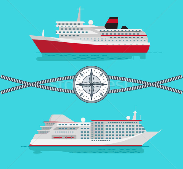 Ships and Rope with Compass Vector Illustration Stock photo © robuart