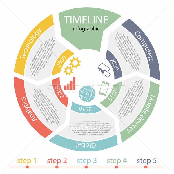 Stock photo: Timeline infographic, 5 steps