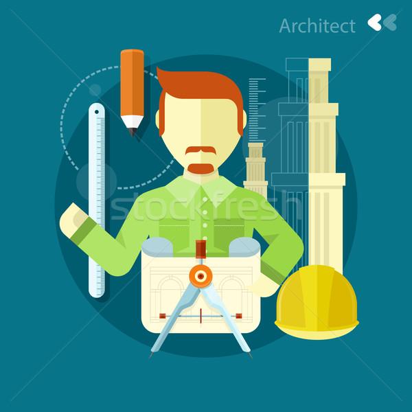 Architect werknemer werk plaats verticaal portret Stockfoto © robuart