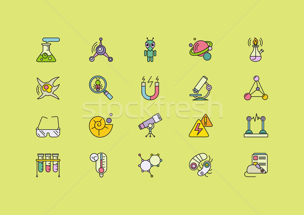 Symbols Sciences Set of Lines Strokes Icons Stock photo © robuart