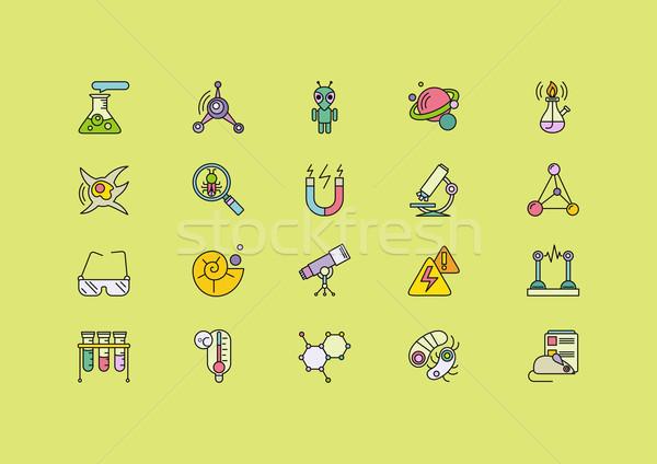 Symbolika zestaw linie kolorowy nauki Zdjęcia stock © robuart