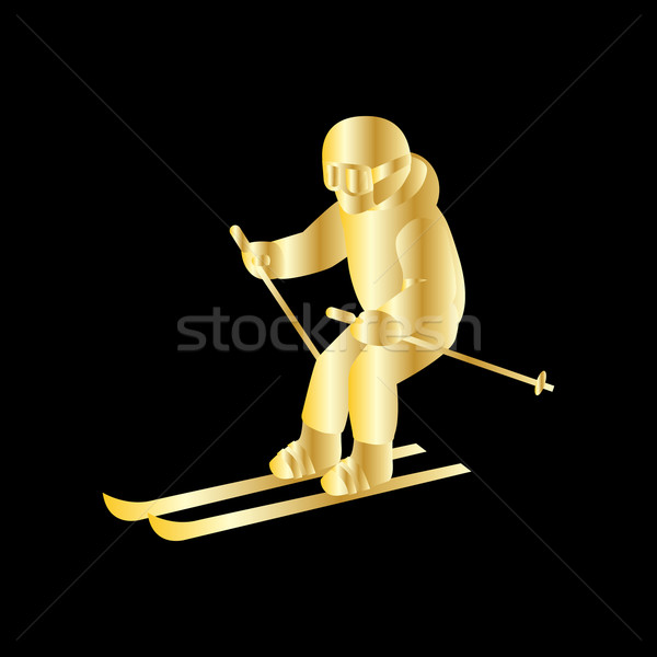 People Skiing Flat Style Design Stock photo © robuart