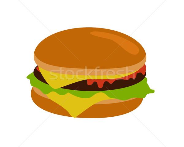 Izolált hamburger hús egészségtelen étel szalag saláta Stock fotó © robuart
