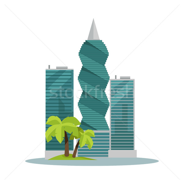 Panama-City Buildings Flat Vector Illustration Stock photo © robuart