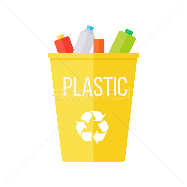 Yellow Recycle Garbage Bin with Plastic Stock photo © robuart