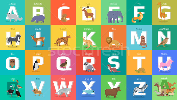 Animals Alphabet. Letter from A to Z Stock photo © robuart