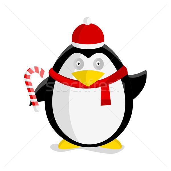 Christmas Penguin Vector Flat Design Illustration  Stock photo © robuart