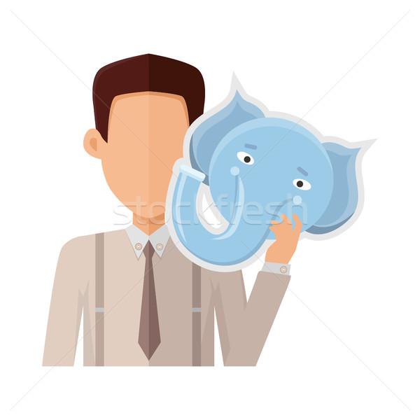 Adam fil maske dizayn örnek karakter Stok fotoğraf © robuart