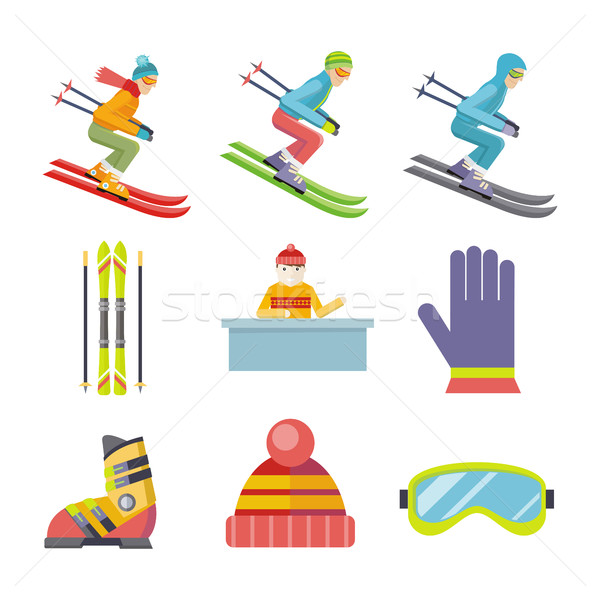 Set of Vector Winter Sport Icons in Flat Design Stock photo © robuart