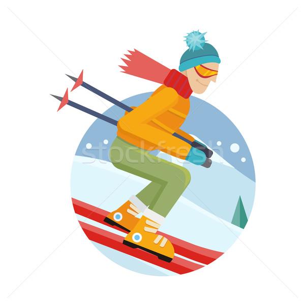 Esquiador projeto homem esquiar terno Foto stock © robuart