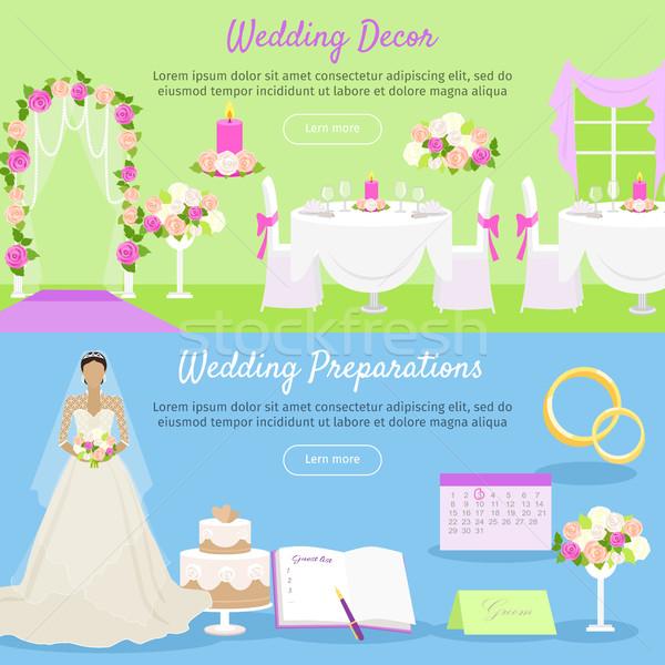 Wedding Decor and Preparations Web Banner. Vector Stock photo © robuart