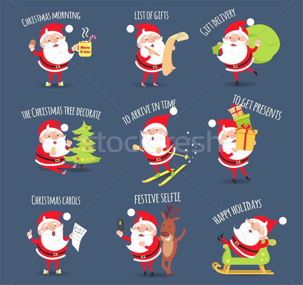 Santa Activities. Christmas Happy Holidays. Vector Stock photo © robuart