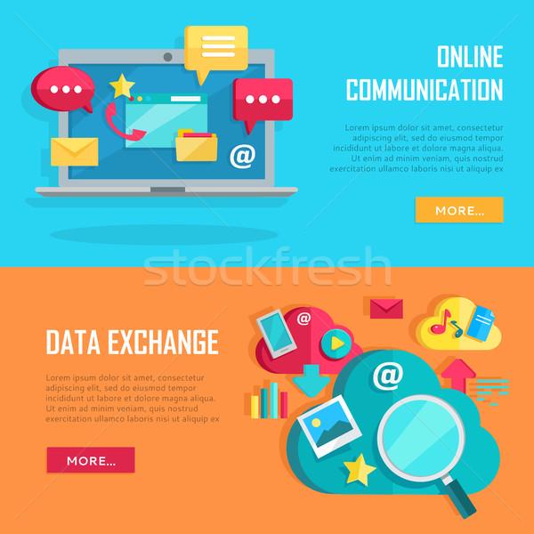 Online komunikacji danych wymiany banery koncepcje Zdjęcia stock © robuart