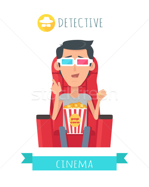 Detective Story. Man in Cinema Seat Entertainment Stock photo © robuart