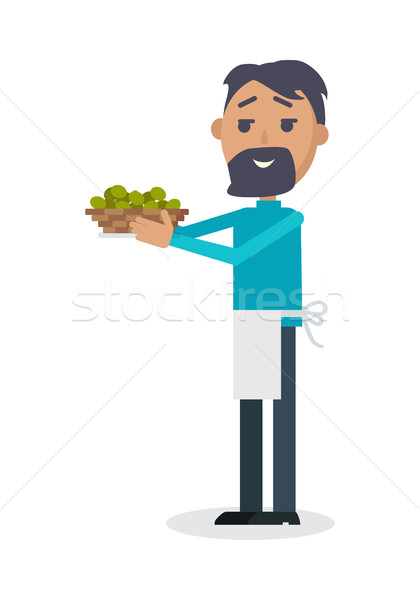 Man with Olives Isolated on White. Spain Festival. Stock photo © robuart