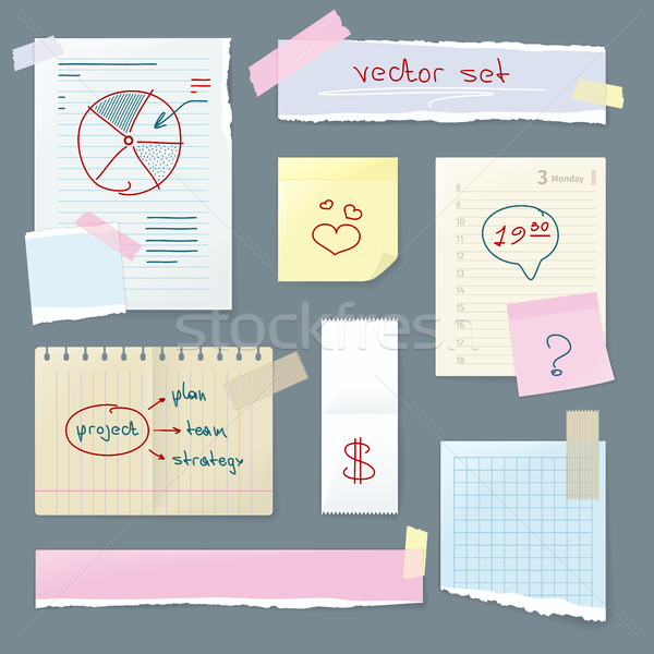 Vector Set Office Paper. Folded Pages with Charts Stock photo © robuart