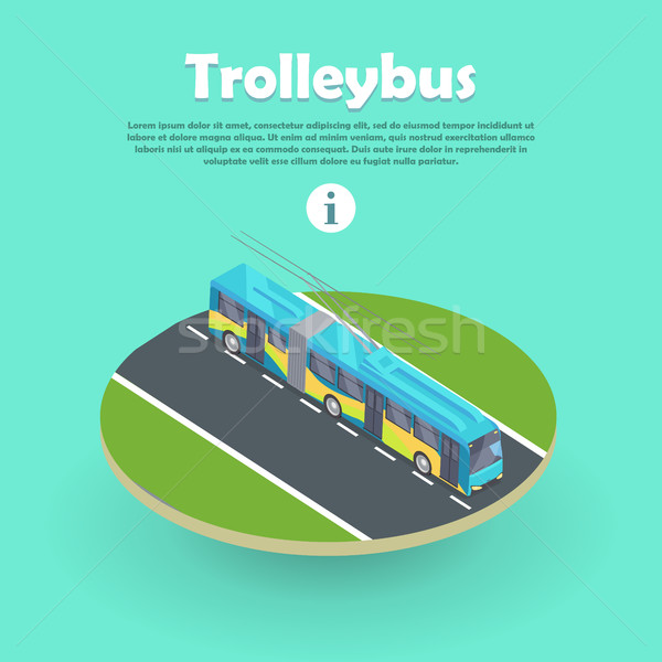 Trolleybus on Part of Road Web Banner. Flat 3d Stock photo © robuart