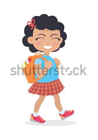 Girl Going in for School with Rucksack Isolated Stock photo © robuart