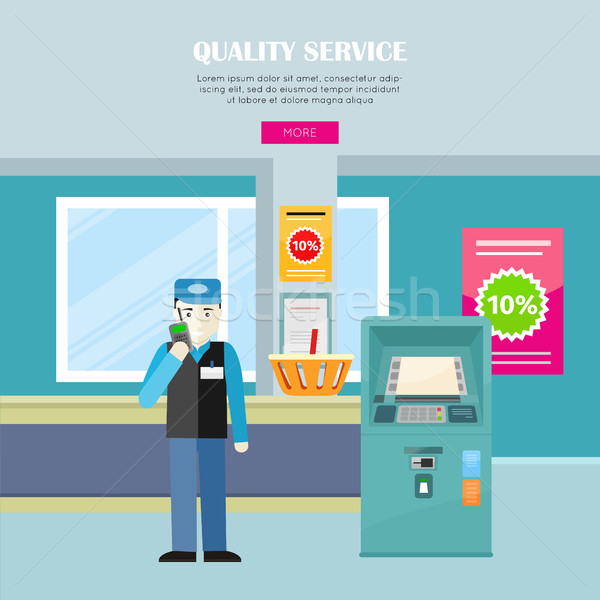 Quality Service in Supermarket Vector Web Banner.  Stock photo © robuart