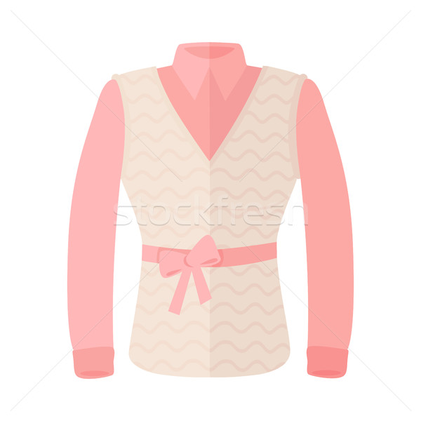 Woman Blouse With Warm Sleeveless And Bow On Belt Stock photo © robuart