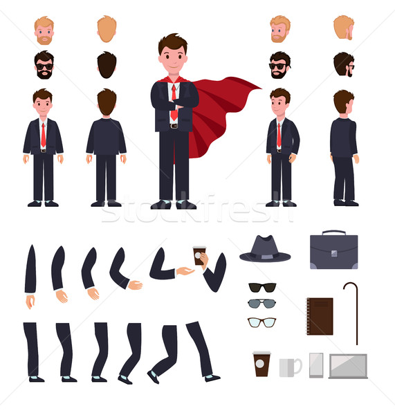 Stock photo: Man in Suit with Mantle. Character Creation Set