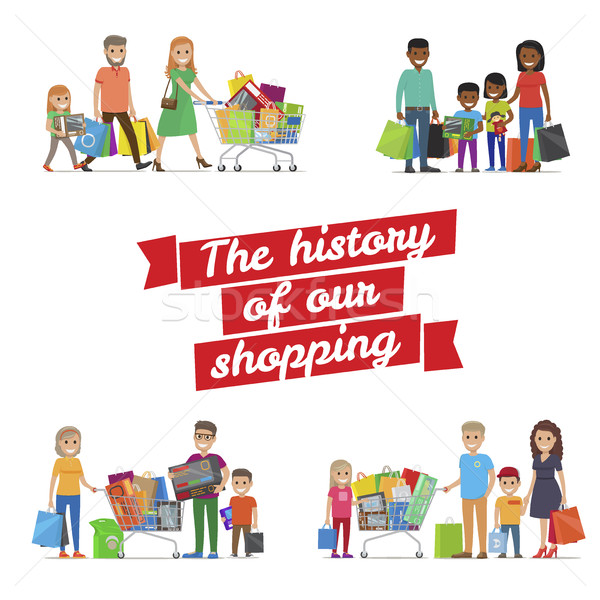 The History of our Family Shopping Vector Poster Stock photo © robuart