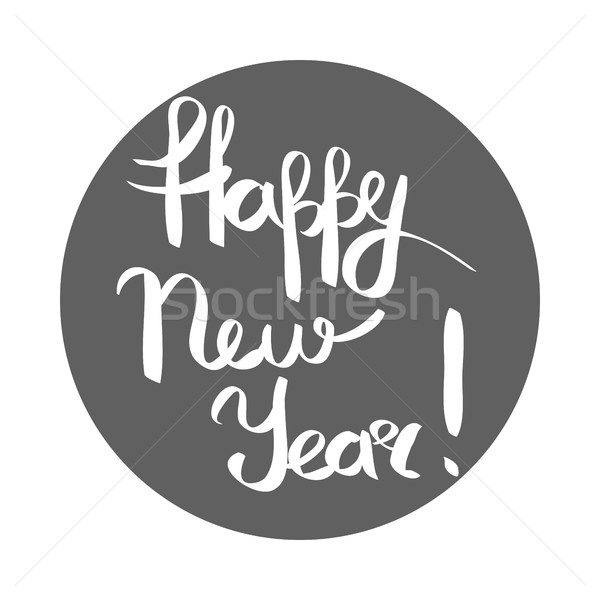 Gelukkig nieuwjaar witte opschrift grijs cirkel hand Stockfoto © robuart