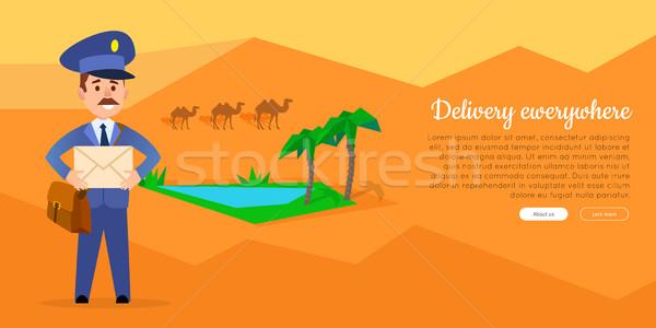 Levering vector web banner postbode cartoon Stockfoto © robuart
