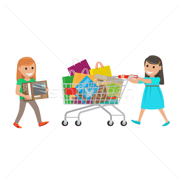 Two Little Girls out on Shopping at Supermarket Stock photo © robuart