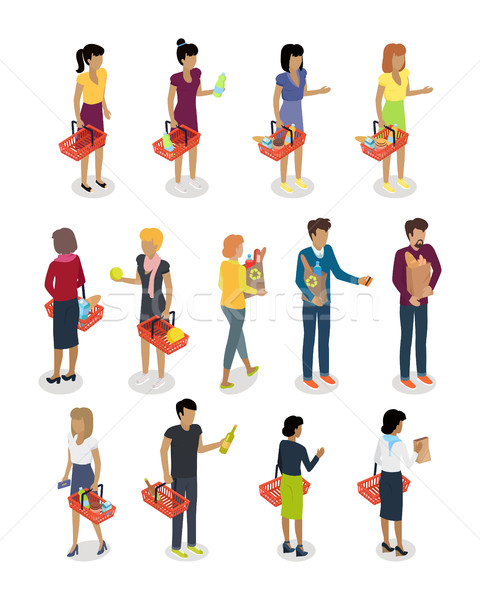 Stock photo: Shopping People Isometric Characters Vector Set