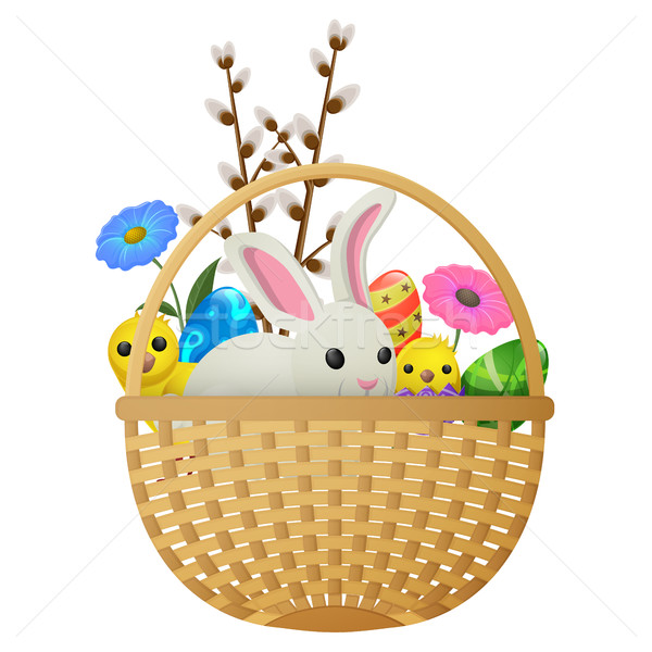 Stock photo: Easter Animals, Flowers and Eggs Illustration