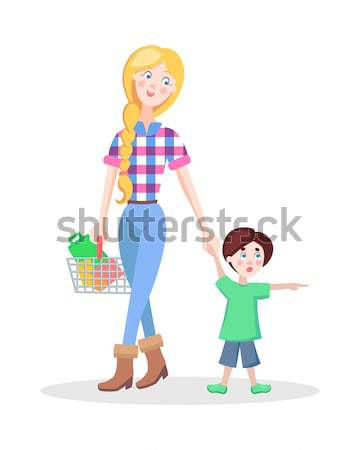 Family Shopping Cartoon Flat Vector Concept Stock photo © robuart