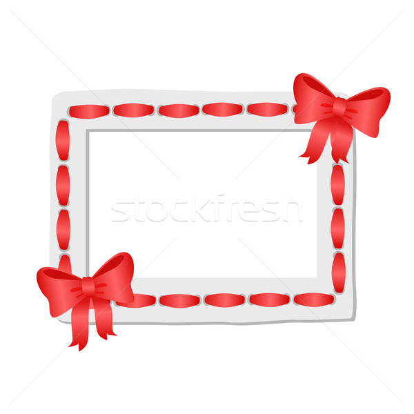 White Frame with Rounded Edges Decorated Red Tape Stock photo © robuart