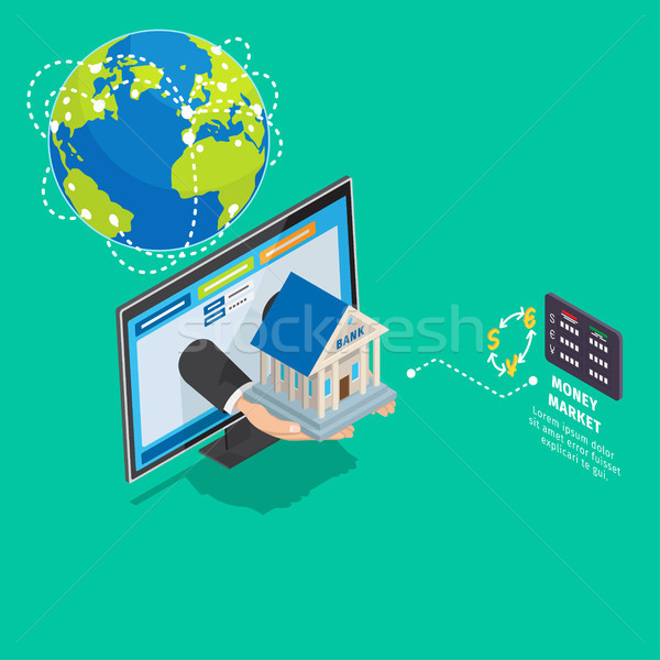 Global Online Banking Service Isometric Concept Stock photo © robuart